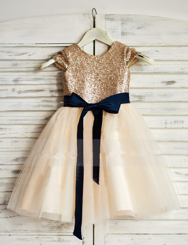 0cbd2f5349e Sparkly Rose Gold Sequins Long Flower Girl Dress With Navy Blue Sash ...