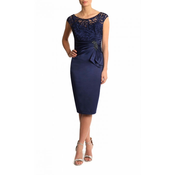 Half Sleeves Navy Blue Short Mother Of The Bride Dress