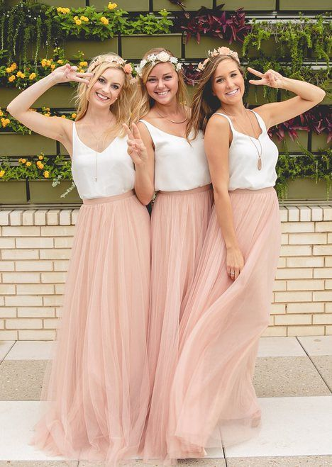 Two Piece White And Blush Pink Tulle Skirt Bridesmaid Dress