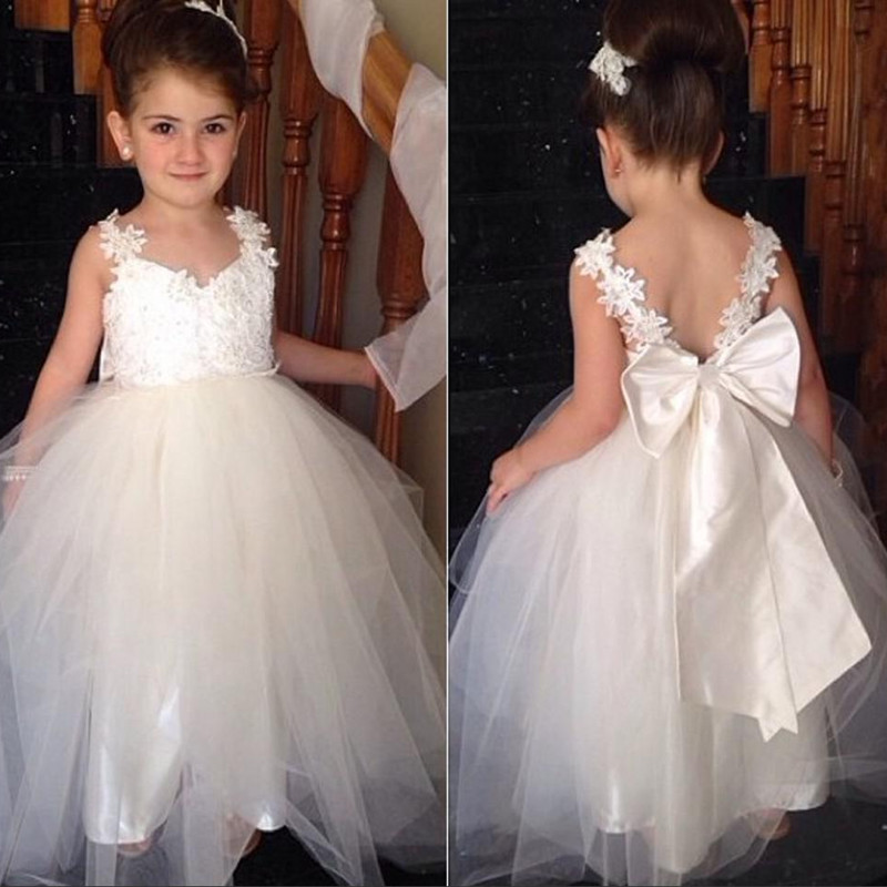 86faec726 Cute A-line Long Tulle Flower Girl Dress With Ribbon on Luulla