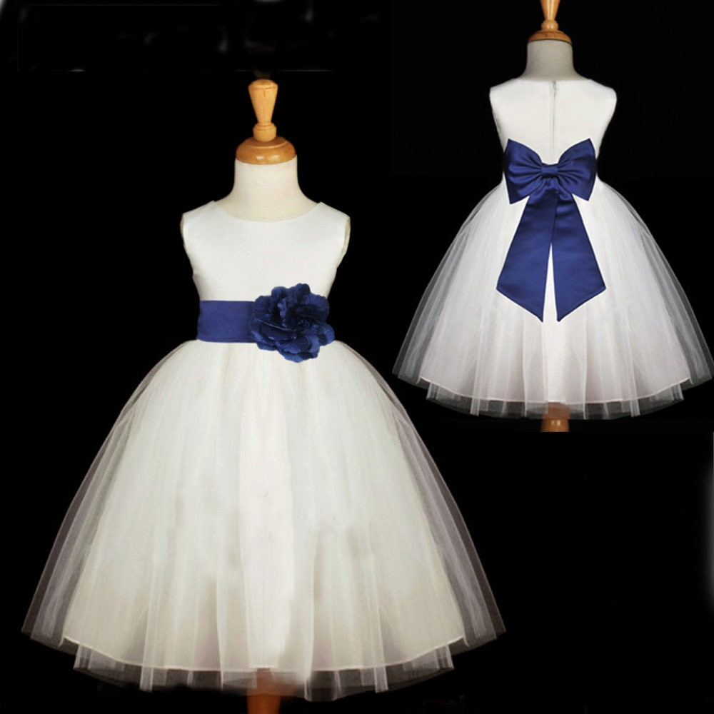 A Line White Long Flower Gilr Dress With Navy Blue Bow On Luulla