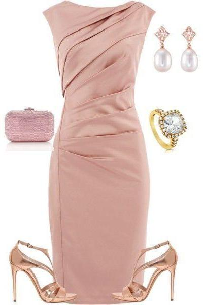 Elegant Short Pink Mother of the Bride Dress