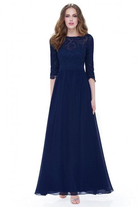 Elegant Half Sleeves Navy Blue Long Mother of the Bride Dress